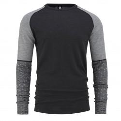 Bula Geo Merino Wool Sleeve Crew Grey